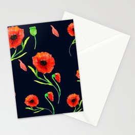 Red Poppies Field Stationery Cards