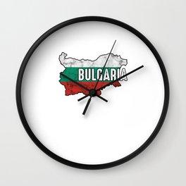 Bulgaria Patriotic Bulgarian Flag Map Symbol Nationalism Patriosm Wall Clock