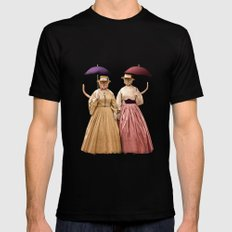 Two Pretty Kitties: Out for a Stroll Mens Fitted Tee Black MEDIUM