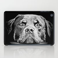 rottweiler iPad Cases featuring Rottweiler Drawing By Annie Zeno by Annie Zeno