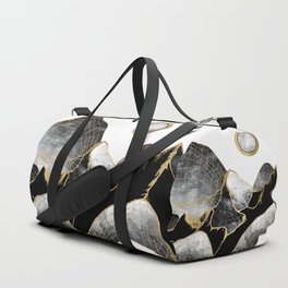 Minimal Black and Gold Mountains Duffle Bag