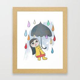 Rainbow of Rain Drops Quirky San Jones Illustration Framed Art Print