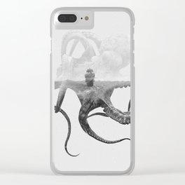 Octopus Vulgaris (Octopus & Ship) BW Clear iPhone Case