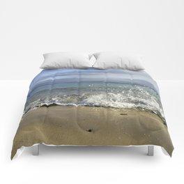White Water Waves Crashing on Winter Beach Comforters
