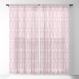 Ikat Teardrops in Pale Pink and Gray Sheer Curtain