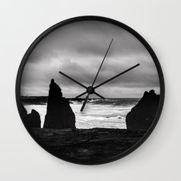 Ominous black beach in Iceland Wall Clock