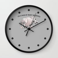 walrus Wall Clocks featuring Walrus Whiskers by mailboxdisco