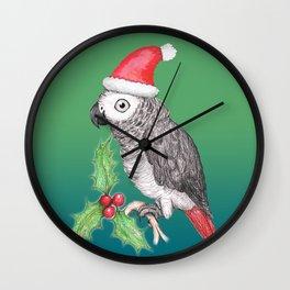 Christmas African grey parrot Wall Clock