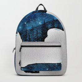 Watercolor Galaxy wolf, double exposure illustration Backpack