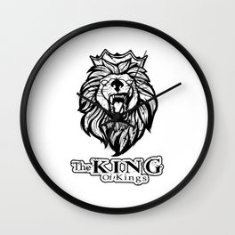 "Unique Animal Design A Nice Illustration Of A Lion King ""The King Of Kings"" T-shirt Jungle Animal Wall Clock"