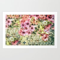 shabby chic Art Prints featuring Shabby Chic Floral by Joke Vermeer
