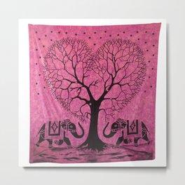 Indian Elephant Tree Printed Tapestry Metal Print