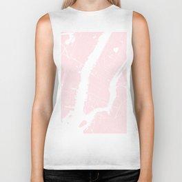New York City Pink on White Street Map Biker Tank