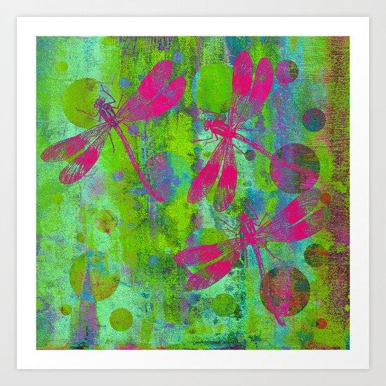 A Dragonflies and Dots R Art Print