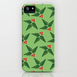 Merry & Bright | Holly Berries on Green iPhone Case