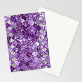 Quatrefoil Moroccan Pattern Amethyst and silver Stationery Cards