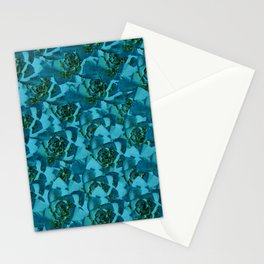 Blue glittery floral succulent pattern Stationery Cards