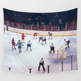 Vintage Ice Hockey Match Wall Tapestry