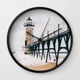 Manistee Lighthouse In Winter Wall Clock