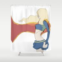 supergirl Shower Curtains featuring Supergirl v1 by Hallowette