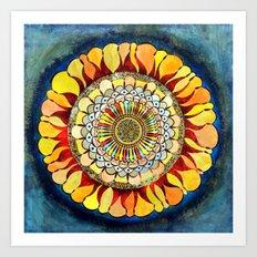 blue meets yellow Art Print