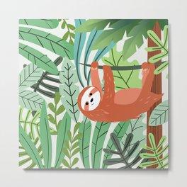 Jungle Sloth Metal Print