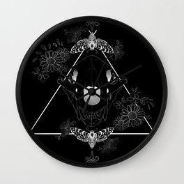 Bear Skull And Deathheads Wall Clock