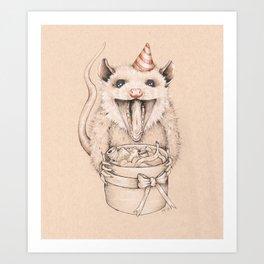 Birthday Possum's Favorite Gift Art Print