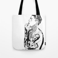 stephen king Tote Bags featuring Stephen by christinabrunette