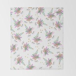 Modern cute whimsical floral unicorn pattern illustration gold glitter polka dots Throw Blanket