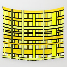 Yellow grid Wall Tapestry