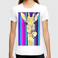 striped T-shirts featuring Striped Giraffe by Tiffany Saffle