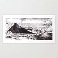 iceland Art Prints featuring Iceland by Justine Lecouffe