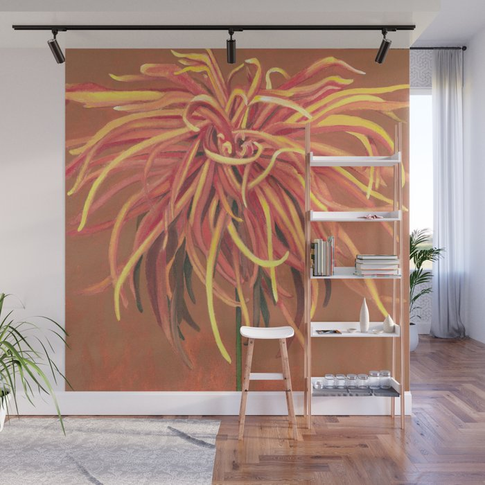 Big Orange Pop Art Chrysthanthemum Wall Mural