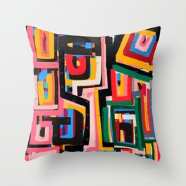 Neo Cubism Abstract Art Pattern Mystic Throw Pillow