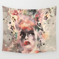 women Wall Tapestries featuring Attractive Women by RIZA PEKER