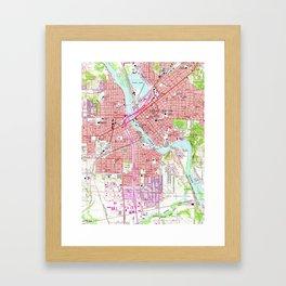 Vintage Map of Cedar Rapids Iowa (1967) Framed Art Print