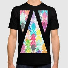 Hawaiian Pineapple Pattern Tropical Watercolor MEDIUM Mens Fitted Tee Black