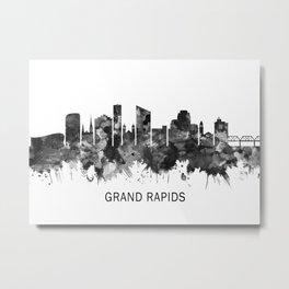 Grand Rapids Michigan Skyline BW Metal Print
