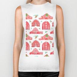 Watercolor Snowy Red Holiday Barns Biker Tank