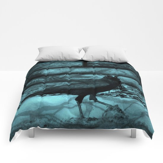 Blue Crow Shadows Comforters