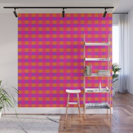Jazzy Checks in Orange, Pink and Purple Wall Mural