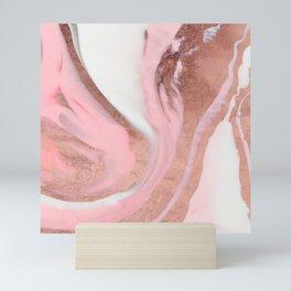 Rose Gold Pink Girly Modern Painted Marble Mini Art Print