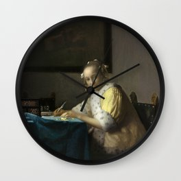 A Lady Writing Oil Painting by Johannes Vermeer Wall Clock