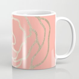 Flower in White Gold Sands on Salmon Pink Coffee Mug
