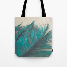 Turquoise Feather Abstract Tote Bag