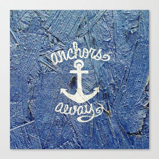 White Nautical Anchors Blue Vintage Wood Texture Canvas Print