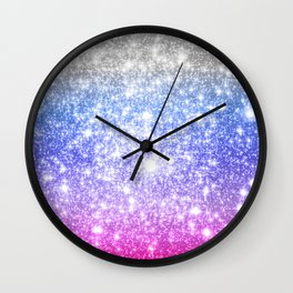 Galaxy Sparkle Stars Periwinkle Pink Wall Clock