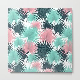 Pastel Palm Leaves Metal Print