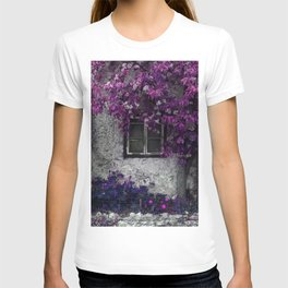 Purple Floral Orchid Vines, Window and Gray Stone T-shirt